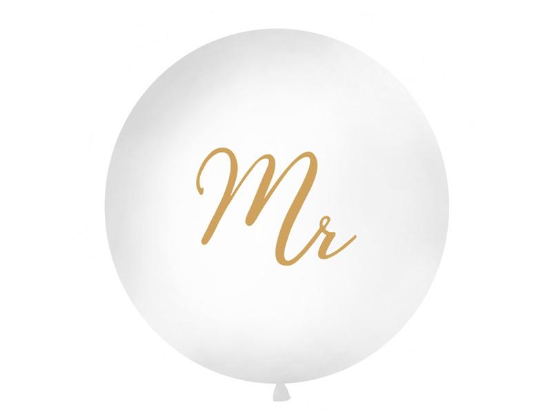 """Balon lateksowy OLBO 1m z nadrukiem """"Mr"""", biały OLBON12D-008-019"""