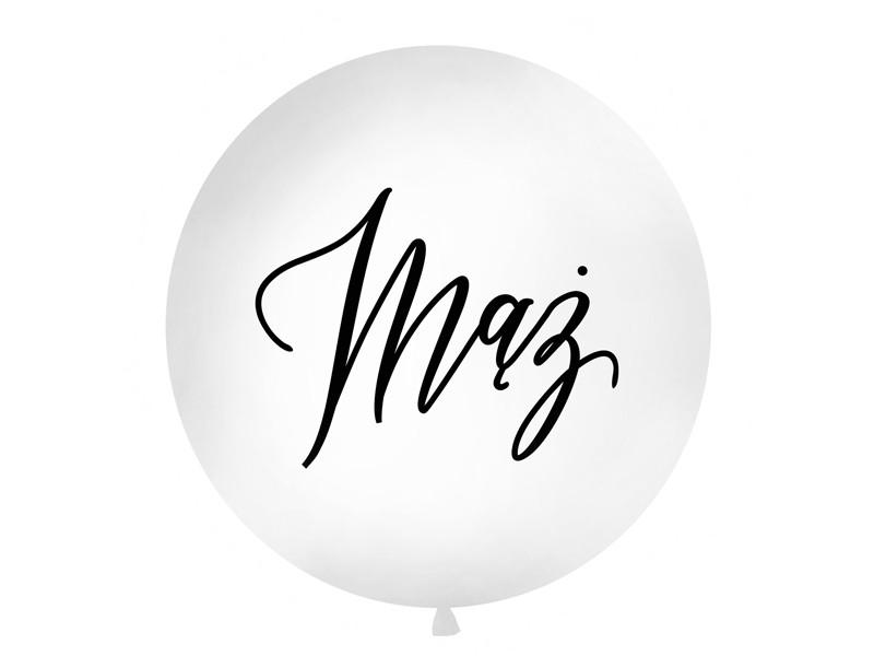 """Balon lateksowy OLBO 1m z napisem """"Mąż"""", biały OLBON23D-008"""