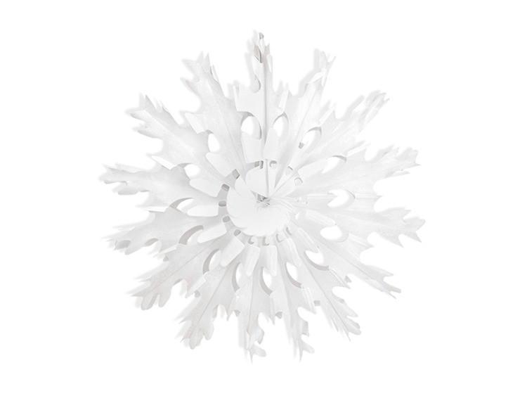 Rozeta bibułowa Śnieżynka, biała- 45cm