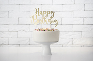 "Topper na tort ""Happy Birthday"", złoty / 22,5 cm"