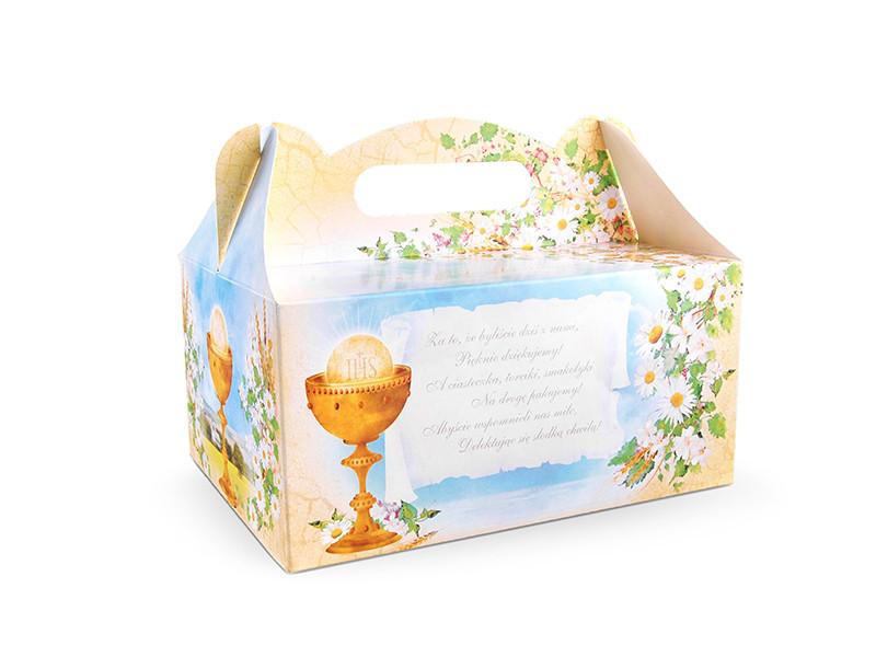 Ozdobne pudełka na ciasto komunijne / 19x14x9 cm PUDCS7