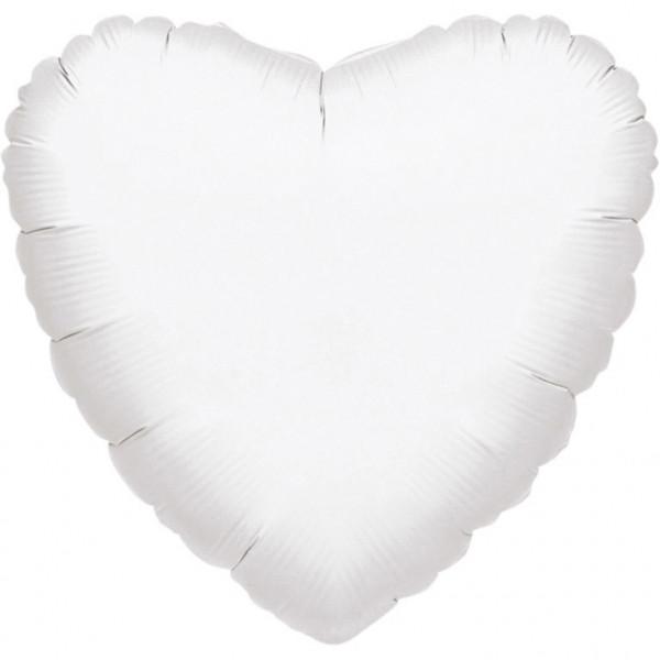 Balon foliowy metalizowany - Serce białe / 43 cm