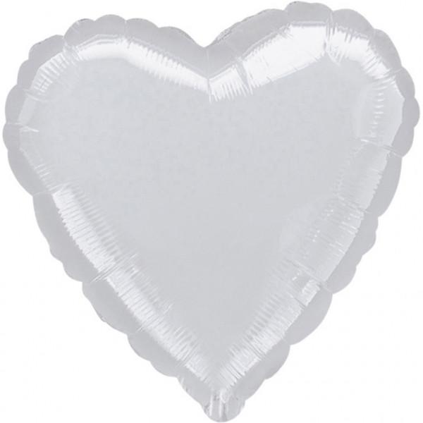 Balon foliowy metalizowany - Serce srebrny / 43 cm