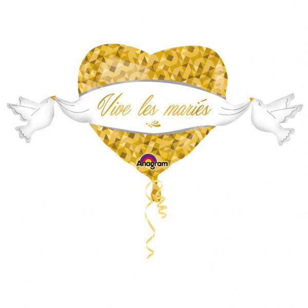 """Balon foliowy """"Vive les mariés""""  / 104x53 cm"""