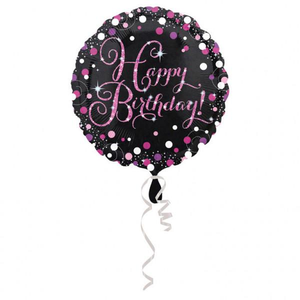 """Balon foliowy """"Happy Birthday"""", różowy / 43cm"""
