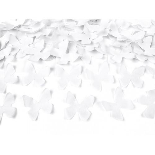 Wystrzałowa tuba konfetti - białe motylki / 80 cm