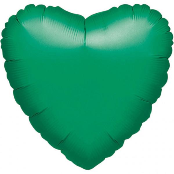 Balon foliowy metalizowany - Serce zielone / 43 cm