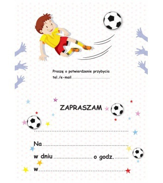 """Zaproszenia na urodziny """"Piłkarz"""""""
