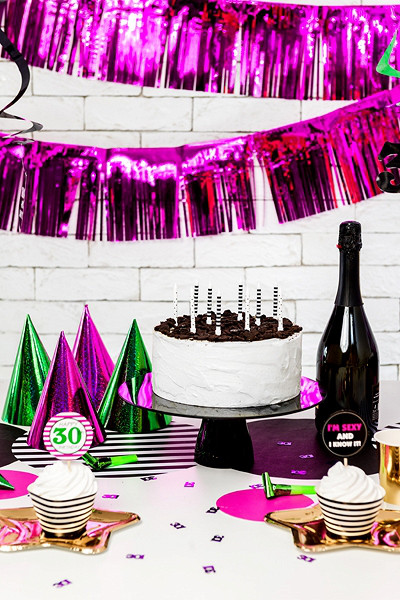 Dekoracja - foliowa kurtyna Party, różowa / 18,5x400 cm