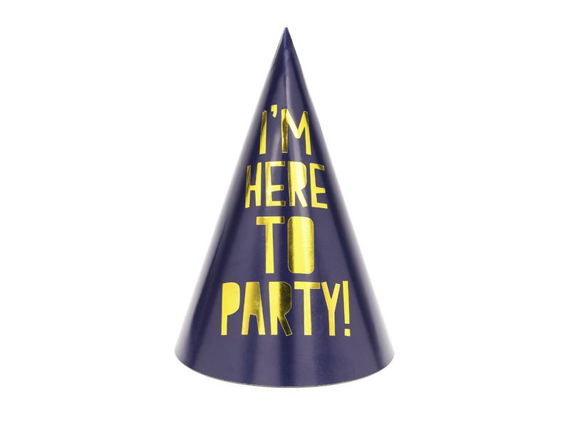 """Zestaw czapeczek urodzinowych """"I am here to Party"""""""