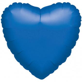Balon foliowy metalizowany - Serce niebieskie / 43 cm