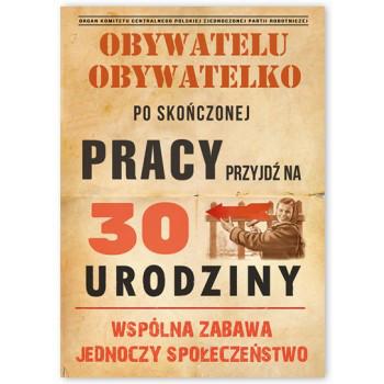 Zaproszenia na 30 urodziny w stylu PRL / ZX6815