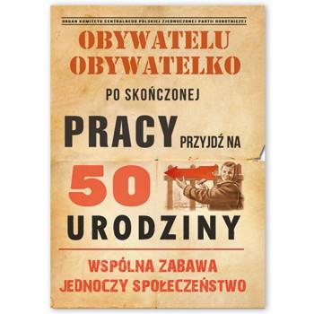 Zaproszenia na 50 urodziny w stylu PRL / ZX6811