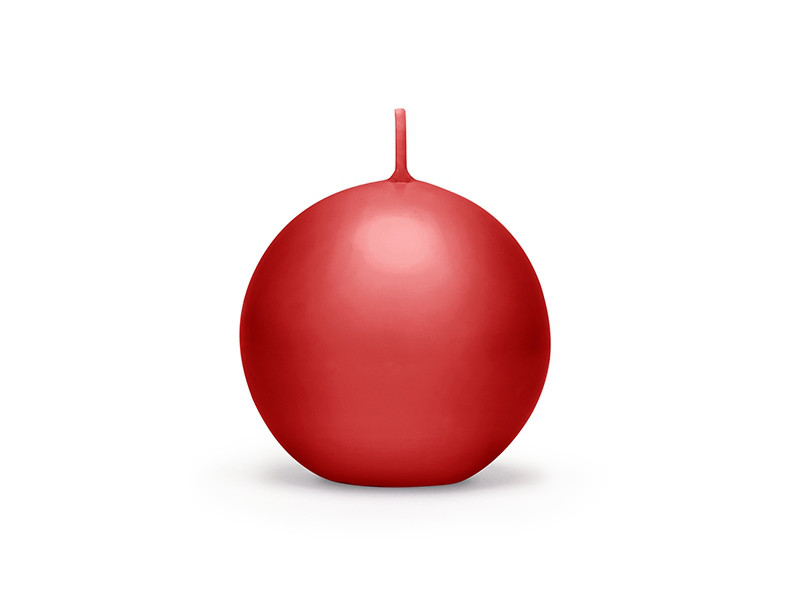 Czerwona świeca kula, matowa / 6 cm
