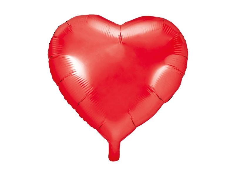 """Balon foliowy """"Serce"""", Metallic czerwony / 45 cm"""