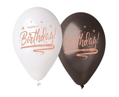 """Balony urodzinowe z napisem """"Happy Birthday"""", białe i czarne"""
