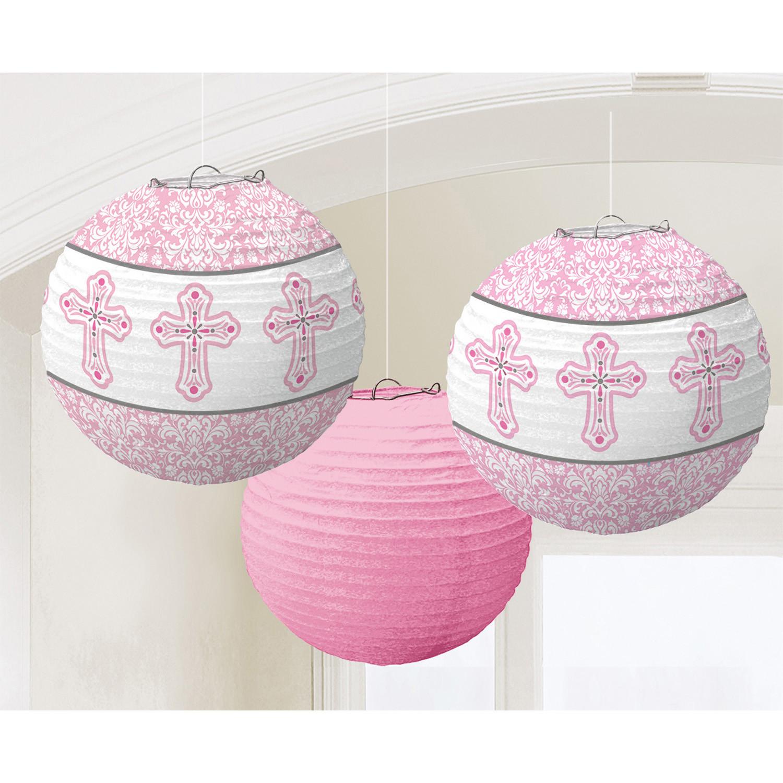 """Lampiony Komunijne """"I Komunia Święta, różowe / 24,1 cm"""