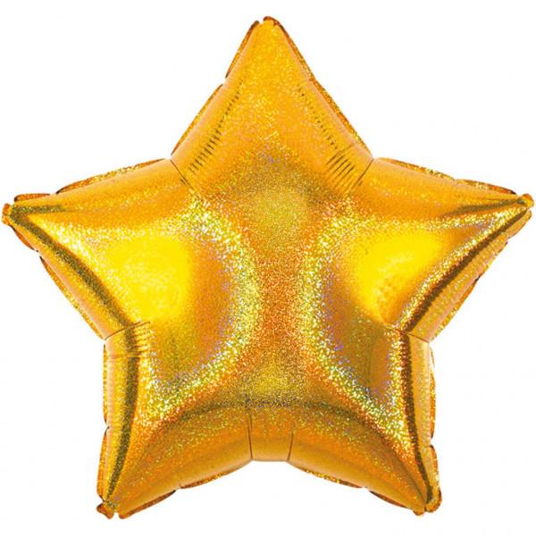 Balon foliowy holograficzny - Gwiazda złota /  48cm