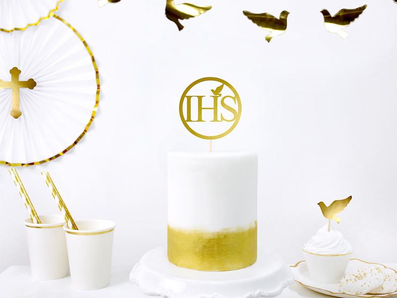 Topper Komunijny IHS na tort I Komunia Święta