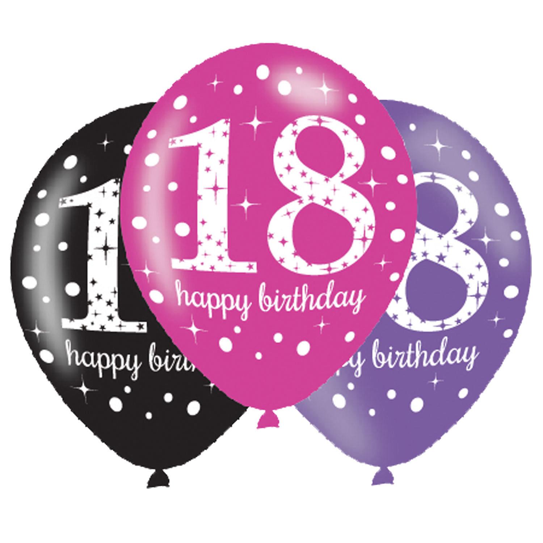 Balony na 18 urodziny, mix różowy  / 27,5 cm