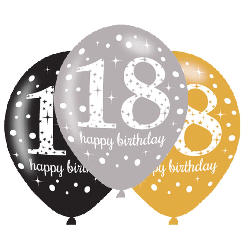 Balony na 18 urodziny, mix złoty / 27,5 cm