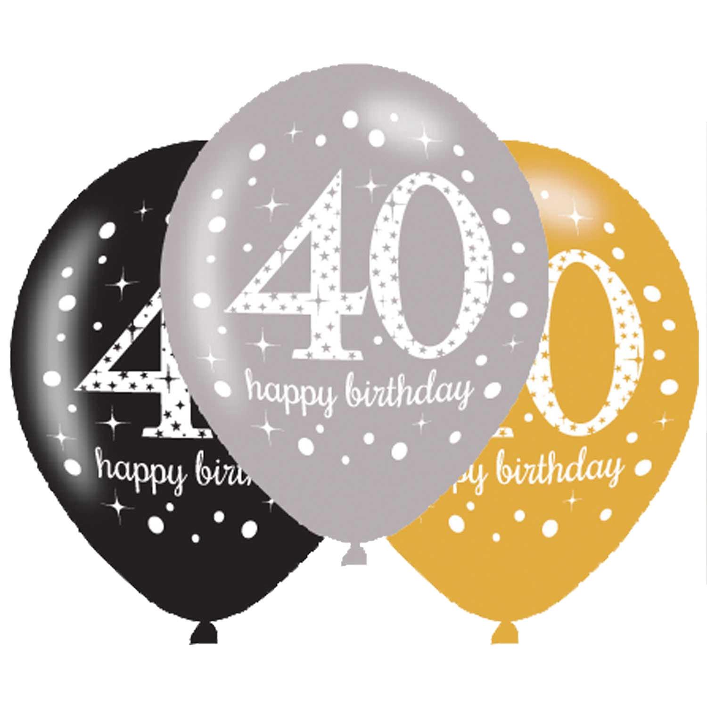 Balony na 40 urodziny, mix złoty / 27,5 cm