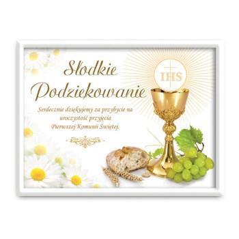 """Etykietki naklejki na ciasto podziękowania komunijne """"Słodkie podziękowania"""" / 99901"""