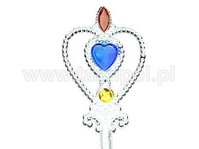 """Różdżka """"Serce"""" srebrna z różowymi i zielonymi kamieniami"""