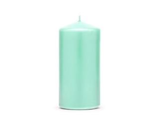 Miętowa świeca walec, matowa / 15x6 cm