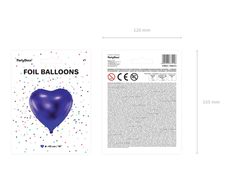 "Balon foliowy ""Serce"", Metallic fiolet / 45 cm"