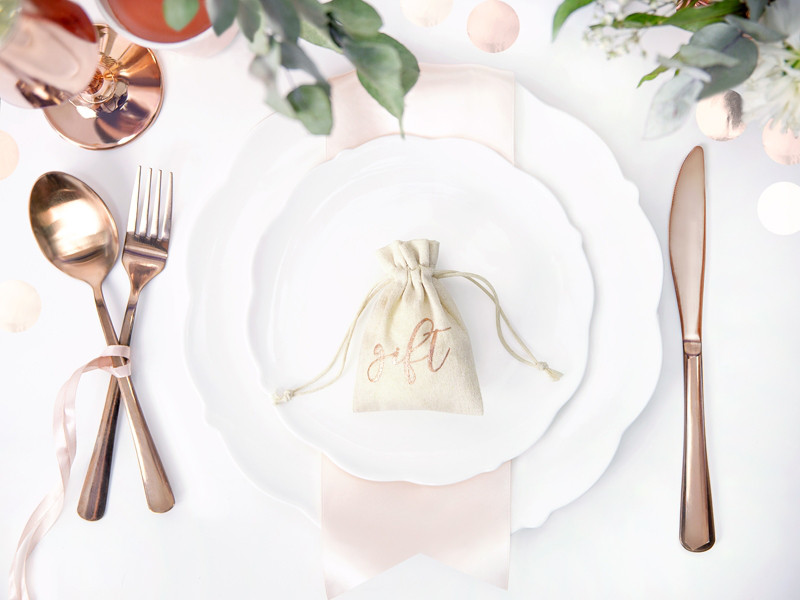 """Woreczki bawełniane w stylu rustykalnym na podziękowania dla gości """"Gift"""" / WRB1-019R"""