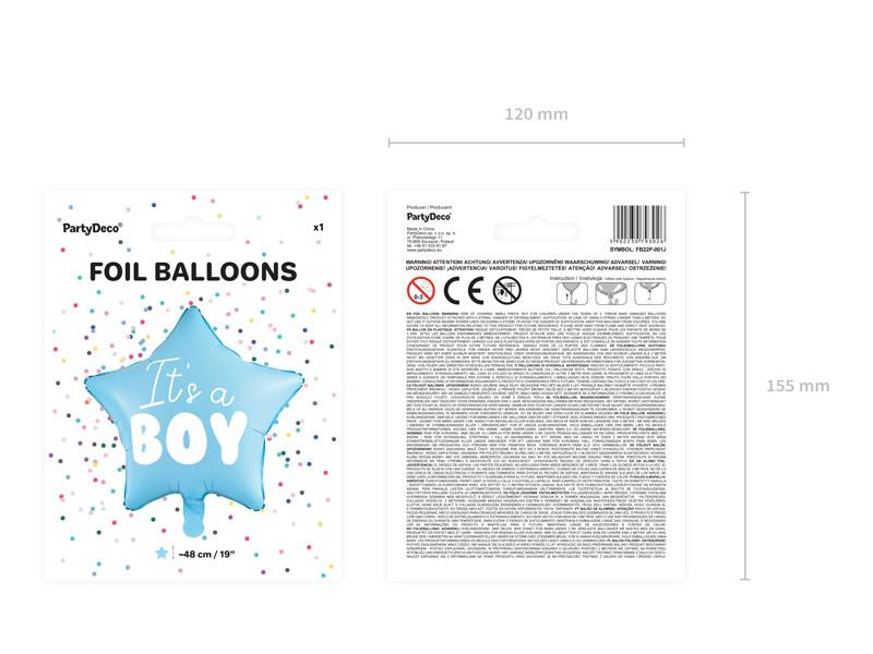 """Balon na Narodziny foliowy pastelowy """"It is a boy"""" Gwiazda / 48 cm"""