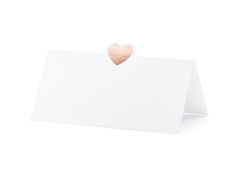 """Winietki na stół """"Serce"""" różowe złoto / WS10-019R"""