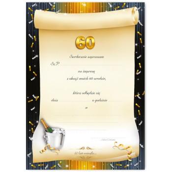 Zaproszenia na 60 urodziny szampan / ZX6807