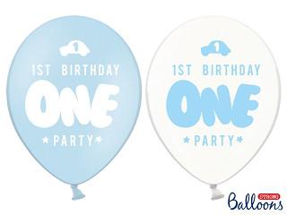 """Balony urodzinowe na Roczek dla chłopca """"1 Birthday One Party"""" / SB14PC-002-011-6"""