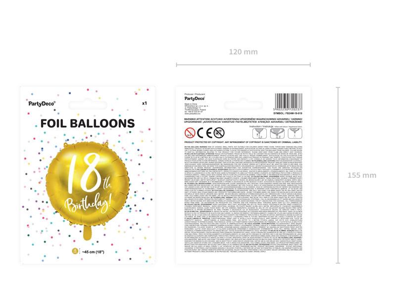 """Balon foliowy 18"""" """"18th Birthday"""" na 18 urodziny / FB24M-18-019"""