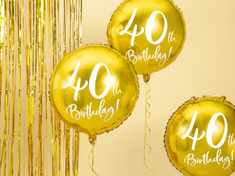 """Balon foliowy 18"""" """"40th Birthday"""" na 40 urodziny / FB24M-40-019"""