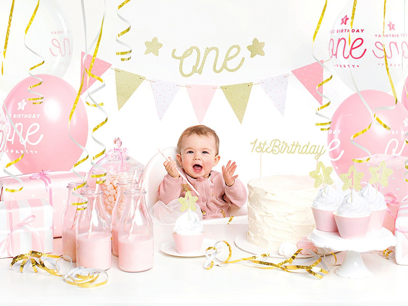 """Balony urodzinowe na Roczek dla dziewczynki """"1 Birthday One Party"""" / SB14PC-001-081-6"""