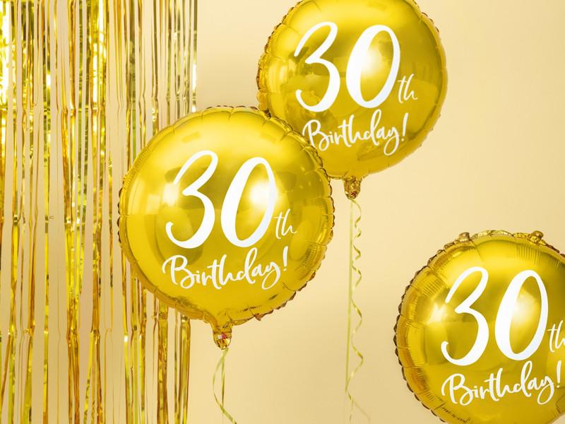 """Balon foliowy 18"""" """"30th Birthday"""" na 30 urodziny / FB24M-30-019"""