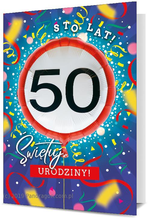 Kartka na 50 urodziny z balonem / K.Balloon-25