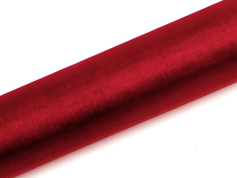 Organza gładka, czerwona / 0,16x9 m