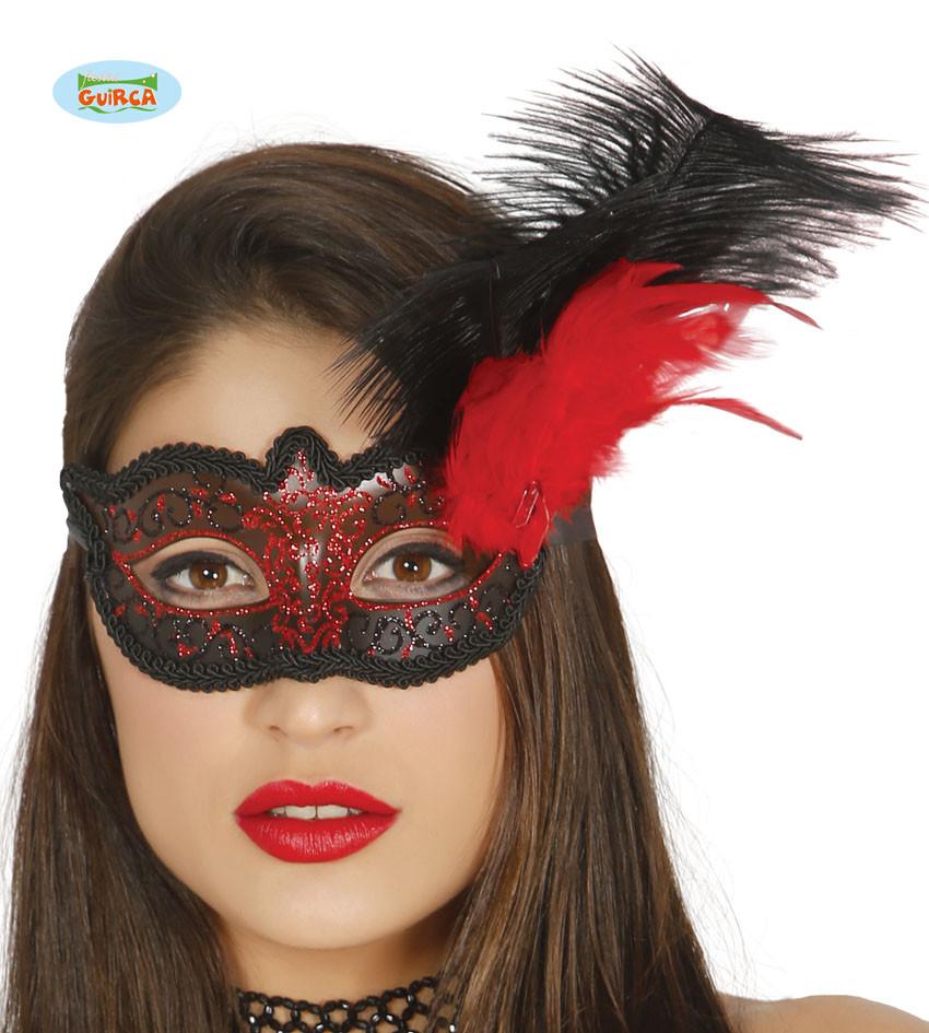 Maska karnawałowa Wenecka z piórami / 12918