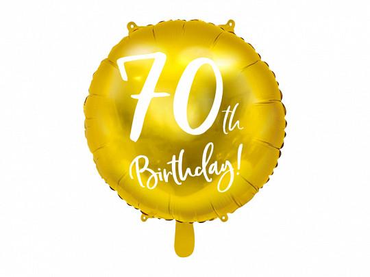 """Balon foliowy 18"""" """"70th Birthday"""" na 70 urodziny / FB24M-70-019"""