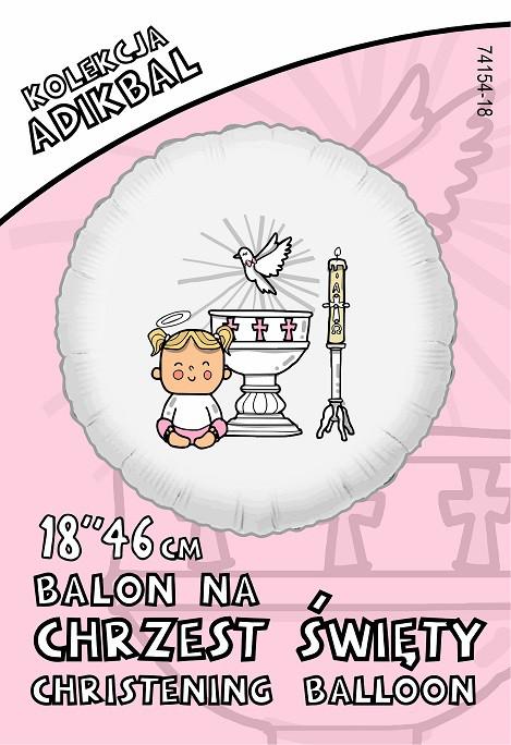 """Balon foliowy """"Chrzest - dziewczynka"""" / 74154P"""