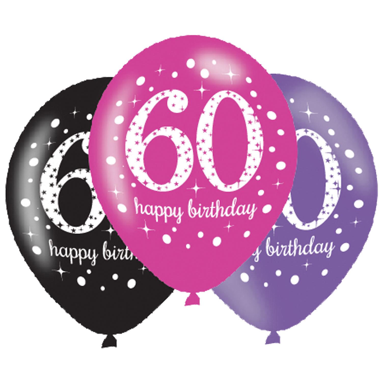 Balony na 60 urodziny, mix różowy  / 27,5 cm