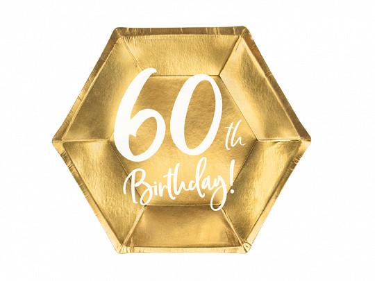 Talerzyki papierowe na 0 urodziny, złote
