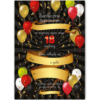 Zaproszenia na 18 urodziny / ZX8904