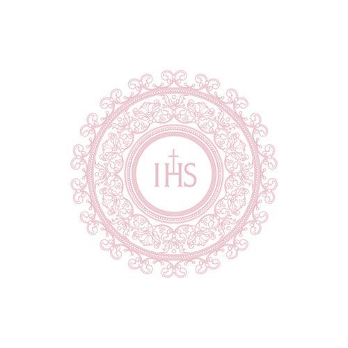 Serwetki Komunijne na Pierwszą Komunię Świętą, z różowym IHS / 33x33