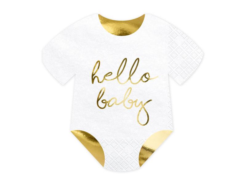 """Serwetki na Narodziny dziecka śpioszki """"Hello Baby"""" / 16x16 cm"""