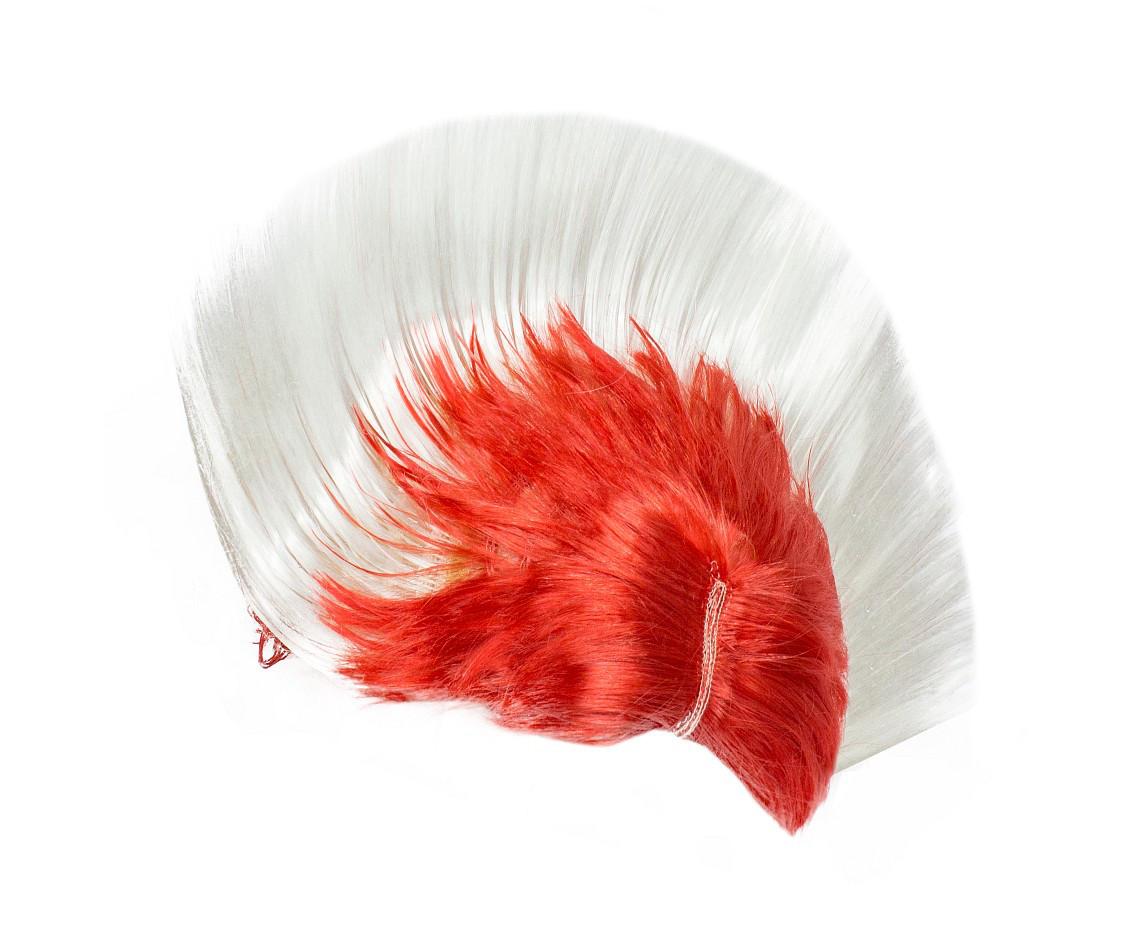Peruka Irokez Kibica, biało-czerwony
